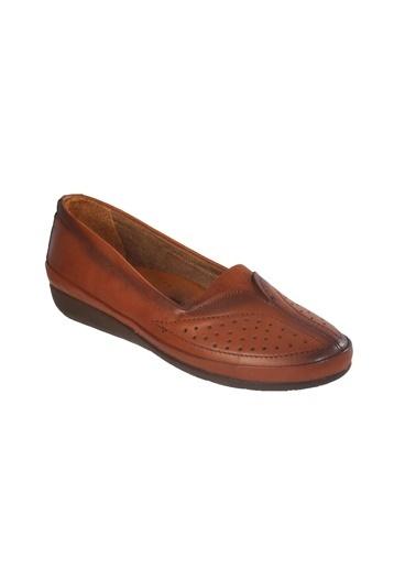 Ayakmod 103 Hakiki Deri Krem Kadın Günlük Ayakkabı Taba